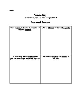 Vocabulary Activities - Frayer Model style!