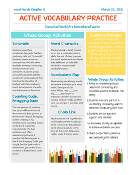 Vocabulary Activities Handout From Word Nerds Chapter 5