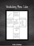 Interactive Word Study Menu Cube