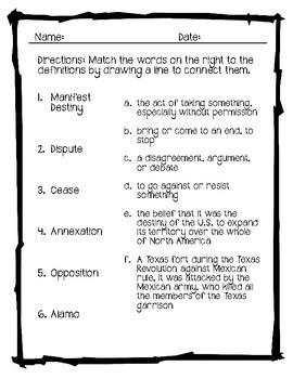 Vocabulary Activities Mexican American War
