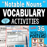 Vocabulary Activities - NOTABLE NOUNS with Word Wall Posters and Quizzes 6-9