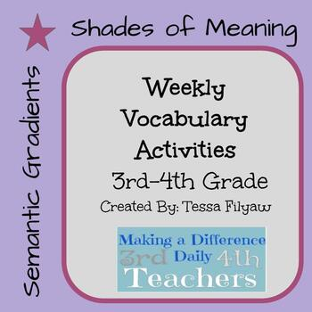 Vocabulary Activities-Semantic Gradients