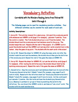 Vocabulary Activities Third Grade Wonders Reading Series Units 4 through 6