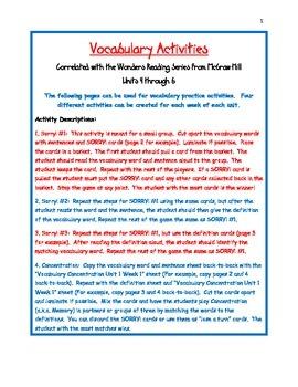 Vocabulary Activities Third Grade Wonders Reading Series U