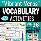 Vocabulary Activities - VIBRANT VERBS  with Word Wall Posters & Quizzes 6-9
