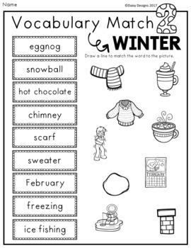 Vocabulary Activities - WINTER