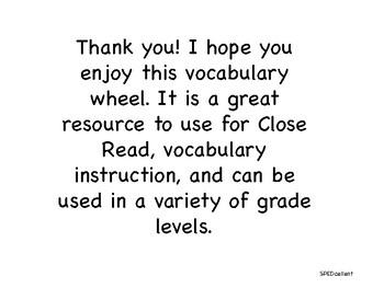 Vocabulary Activities Wheel