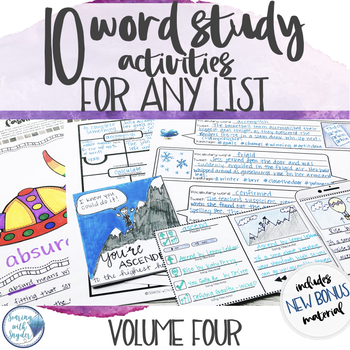 Vocabulary Activities Word Study for Any Word List - Grades 4 - 6 Volume FOUR