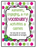 Vocabulary Activity and Game Templates for any words or unit