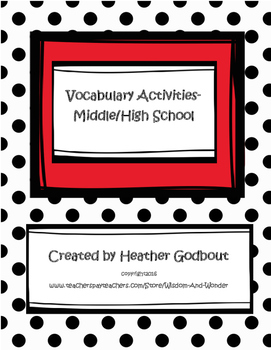 Vocabulary Activities for Middle/High School