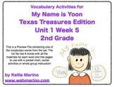 Vocabulary Activities for My Name is Yoon - Texas Treasures