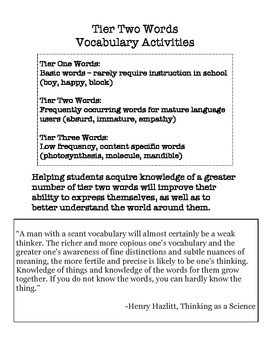 Vocabulary Activities for Tier Two Words