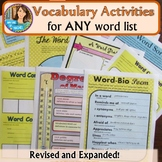 Vocabulary Activities for every word list