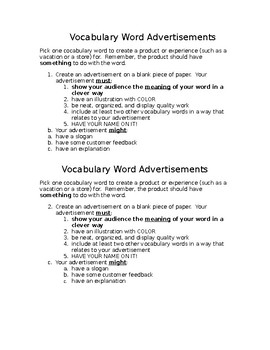 Vocabulary Activity: Advertisements
