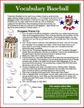 Vocabulary Activity: Baseball Game Review