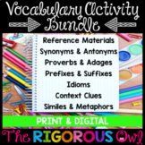 Vocabulary Activites Bundle | Print and Digital | Distance