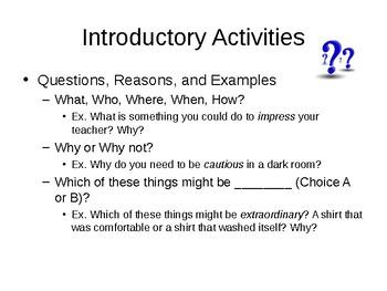 Vocabulary Activity Cards Grades PreK-5