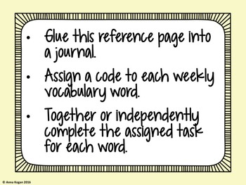 Vocabulary Activity Codes (Word Work)