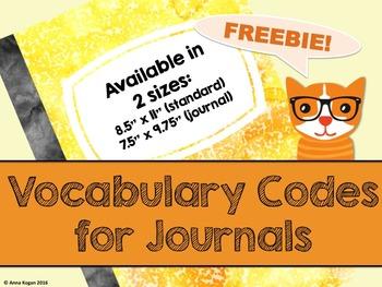Vocabulary Activity Codes (Word Work)