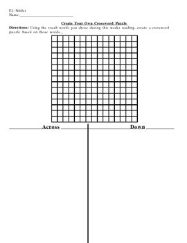 Vocabulary Activity - Creating a Crossword Puzzle