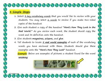 Vocabulary Activity: Here's How They Look In the Real World!