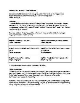 Vocabulary Activity : How do do Question Mixers with your