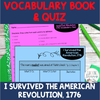 Student Vocabulary Book - I Survived the American Revolution, 1776 - Novel Study