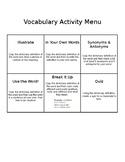Vocabulary Activity Menu