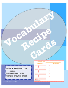 Vocabulary Activity Recipe Cards