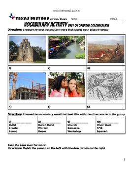 Vocabulary Activity Unit 04 Spanish Colonization