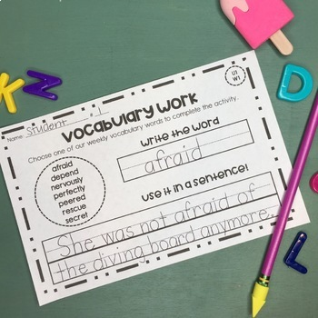 Vocabulary Activity for 2nd Grade Wonders