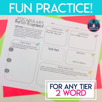 Differentiated Vocabulary Activity for Secondary Compatible with Tier 2 List