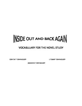 Vocabulary Activity for Inside Out and Back Again