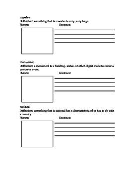 Vocabulary Activity to accompany Wonders 2014 (third grade) Unit 1 Week 5