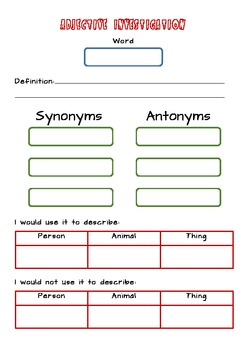 Vocabulary - Adjective Investigation