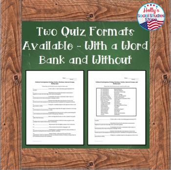 Vocabulary, Amendments, and Supreme Court Cases Quiz BUNDLE- AP® Government