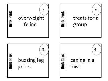 Vocabulary: Animal Hink Pinks and Hinky Pinkies