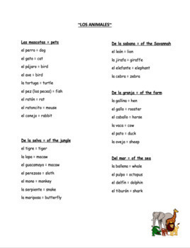 "Vocabulary: ""Los Animales"""