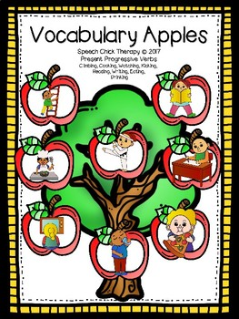Vocabulary Apples-Playdough SMASH Boards for Speech Therapy