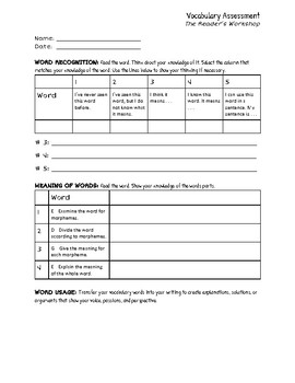 Vocabulary Assessment Template