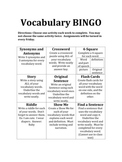 Vocabulary BINGO Choice Chart