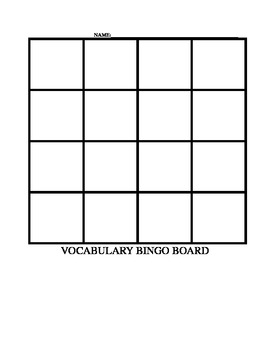 Vocabulary BINGO Game Center Directions and Board