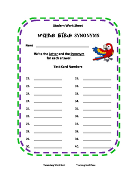 Word Bird BUNDLE | Vocabulary Task Cards | Synonyms,Antonyms,Analogies | Gr 5-6