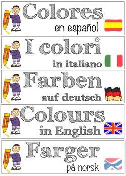 Vocabulary BUNDLE on colours (English, Italian, Spanish, G