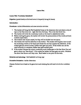 Vocabulary Basketball Lesson Plan