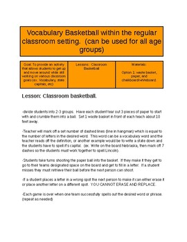 Vocabulary Basketball within the Regular Classroom Setting (confined spaces)