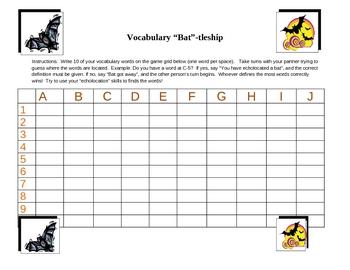 "Vocabulary ""Bat""-tleship Game (Like Spelling Battleship) for Bats Unit"