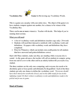 Vocabulary Bee Game for Entire Class