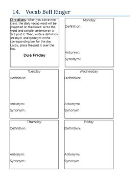 Vocabulary Bell Ringer - Article Summary Form