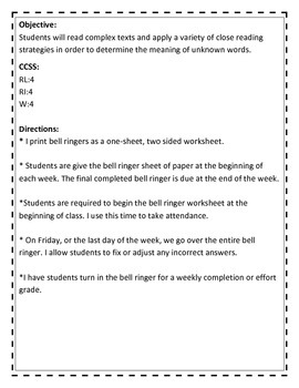 Vocabulary Bell Ringers- One week free